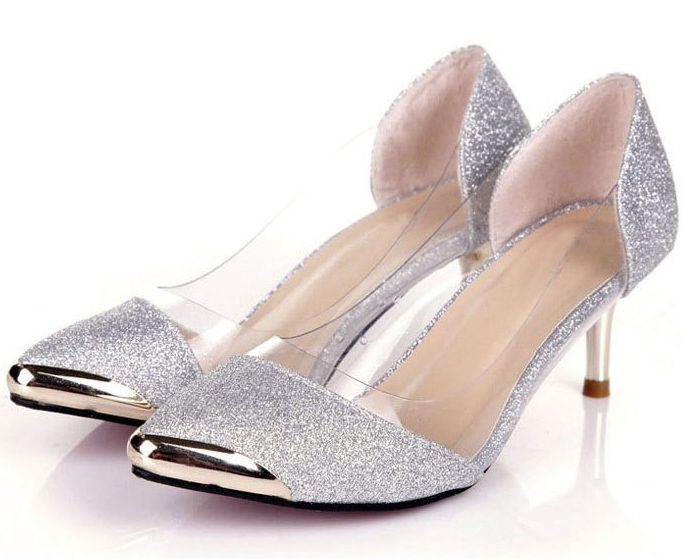 Low Heel Silver Pumps