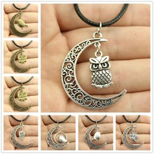 WYSIWYG Crescent Moon Cute bird, Cute Owl Leather Chain Necklace, New Fashion Women Jewelry Necklace(China (Mainland))
