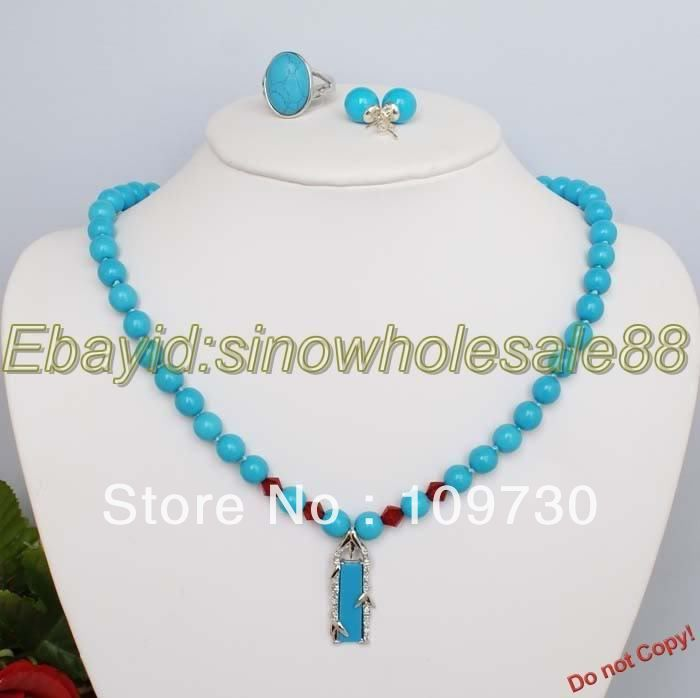 Jewelry 00283 turquoise necklace earring ring Jewelry Set(China (Mainland))