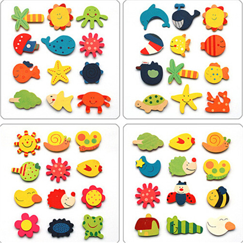 48pcs Colorful Wooden Cartoon Refrigerator Magnets Stickers Children Various animal Shapes New Arrival Home Decoration Crafts(China (Mainland))