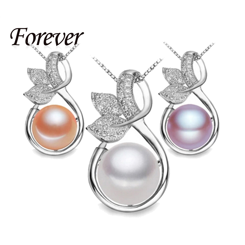 Forever Fine Fashion 925 sterling silver necklaces for women 10-11 mm natural pearl pendants flower pendant ZC Collier Jewelry(China (Mainland))