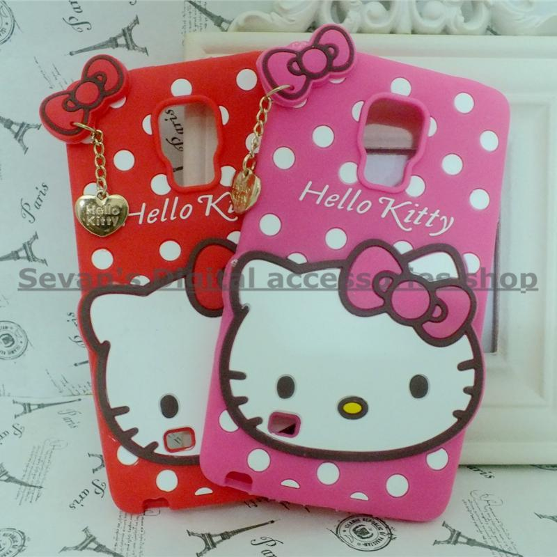 3d cute cartoon hello kitty protective soft silicone case for samsung galaxy note edge N9150 back rubber cover(China (Mainland))