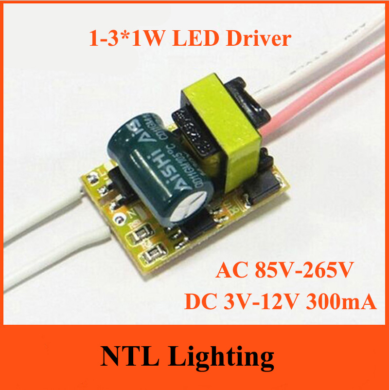 Freeship 1-3*1W None Dimmable LED Driver 1W 2W 3W lamp transformer 300mA bulb bulbs constant current power supply AC 85V-265V(China (Mainland))