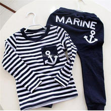 Hot Sale New 2016 Spring Kids Clothes, Navy Long Sleeve Pullover Striped Sports Suit, Casual Boys Clothing Set(China (Mainland))