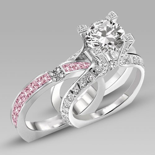White And Pink Cubic Zirconia Silver White Gold Filled Wedding Ring Set In La