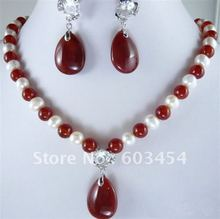 White Pearl Red Agate Jade Pendant Necklace Earrings/ Free Shiping(China (Mainland))