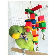 Hot Sale  moveable Parrot bird toys swing wood chew rope toys fun with bells medium size 2015 New Arrival(China (Mainland))
