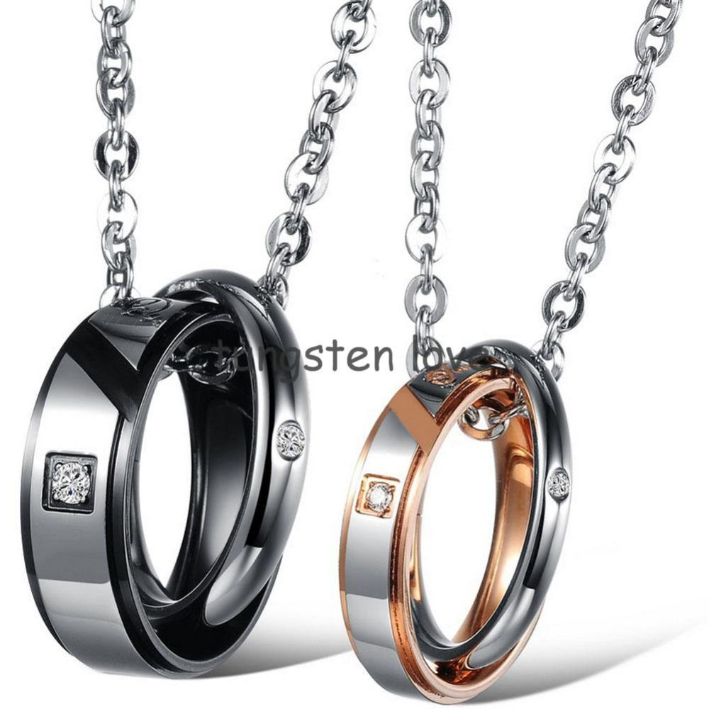 """1 piece 2015 Mens Womens """"True Love"""" Stainless Steel Pendant Necklace Two Rounds Couples Valentine's Gift (with Gift Bag)(China (Mainland))"""
