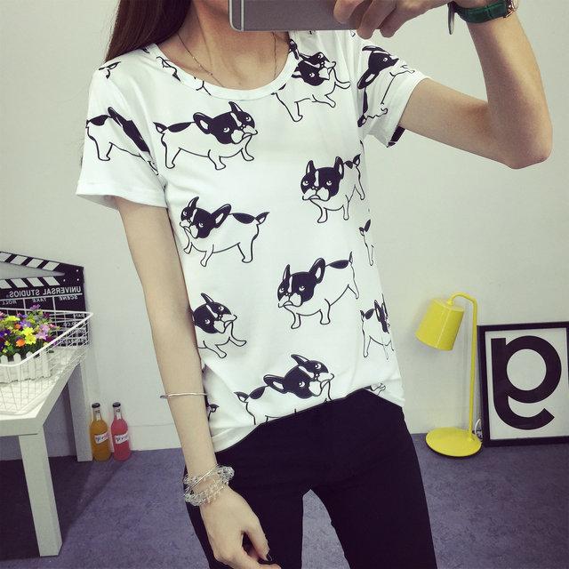 Harajuku 2016 Summer T Shirt Women Tops O-Neck Tee Shirt Femme Animal Dog T-shirt Casual Tee Shirt  Unicorn Tumblr mujer Tshirt