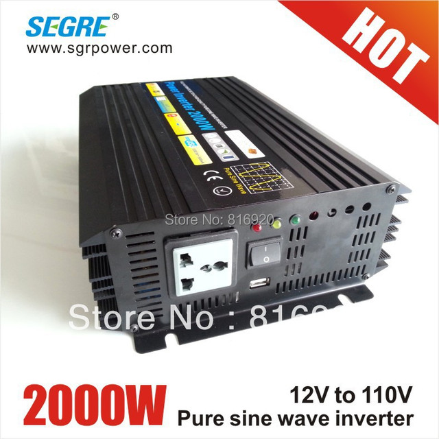 power inverter 2000w inverter pure sine wave dc to ac 12v 110v charger with usb.