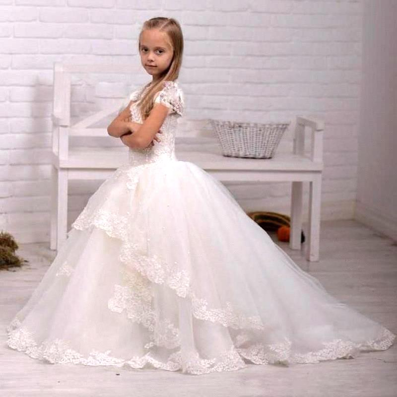 Amazing Evening Dress White / Ivory Floor lengtrh Short Sleeves Girl Ball Gowns Party Communion Flower Girl Dress 2016 For Sale(China (Mainland))