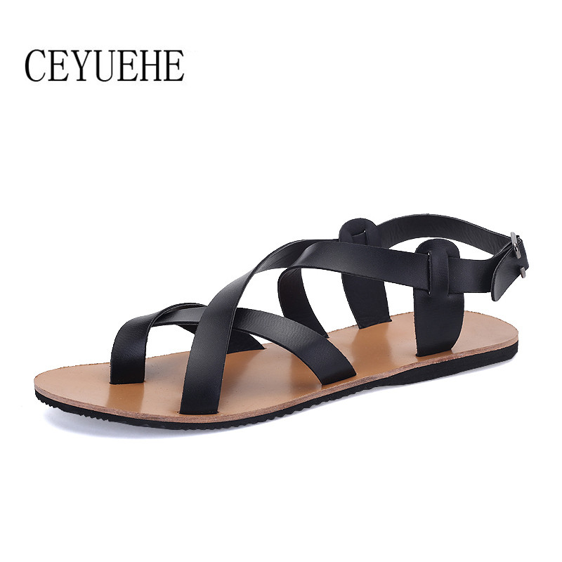 Leather Men Sandals Rome Fashion Summer Shoes Outdoor Casual Brand Sandals Men Black White Brand Casual Slippers(China (Mainland))