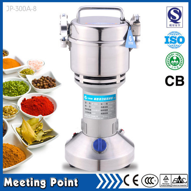 on sale 300g Food-grade stainless steel dry herb grinder mill electric household cereals powder milling machine(China (Mainland))