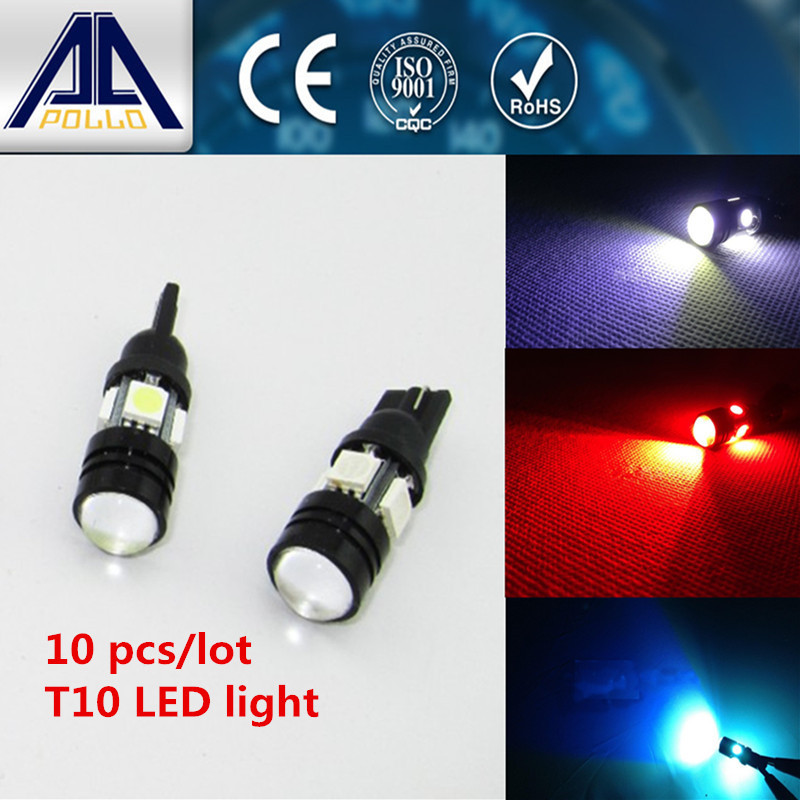 10pcs Super Bright T10 W5W LED Car Bulb Auto Parking Reverse Lamp With Projector Lens parking light(China (Mainland))