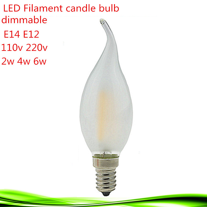 1X E14 E12 110V 220V 2W 4W 6W LED bulb candle lamp filament tungsten frosted crystal chandelier Light Incandescent Energy Saving(China (Mainland))
