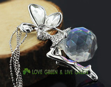 women 18K yellow gold plated Fashion big large 2cm Austrian Crystal Angel fairy Pendant Chain Necklace