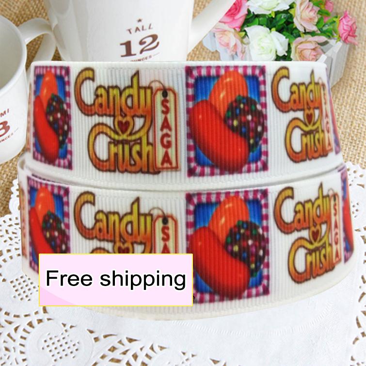 2014 new 22mm candy crush printed grosgrain ribbon decoration 100yards free shipping(China (Mainland))