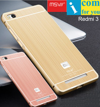 MSVII Aluminum Case For Xiaomi Redmi 3 Pro Brushed Acrylic PC Cover + Metal Frame(China (Mainland))