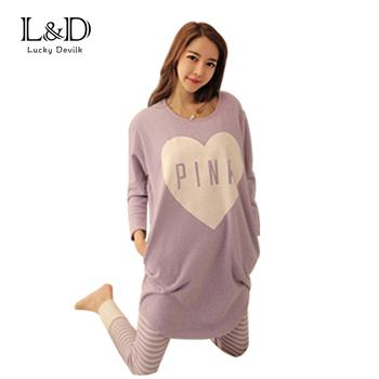 Hot Sale Women Autumn And Winter Pajamas Female Milk Silk Long-sleeves Loose Purple Heart 2 Pieces Sleepwear Set SL2913