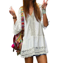 Buy 2017 Bohemian Women Summer Dress Ladies Sexy Lace Crochet Flare Sleeve V Neck Hollow Casual Beach Mini Dresses Vestidos for $8.51 in AliExpress store