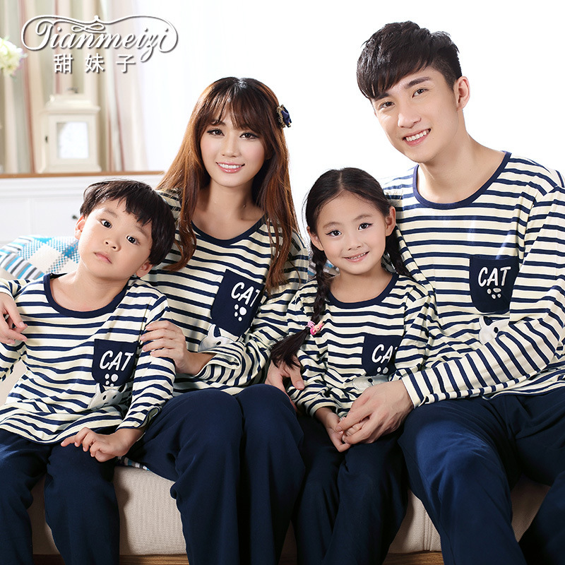 2014 spring and autumn lovers cotton sleepwear women men long-sleeve navy striped lounge family home suits pyjama set 598(China (Mainland))