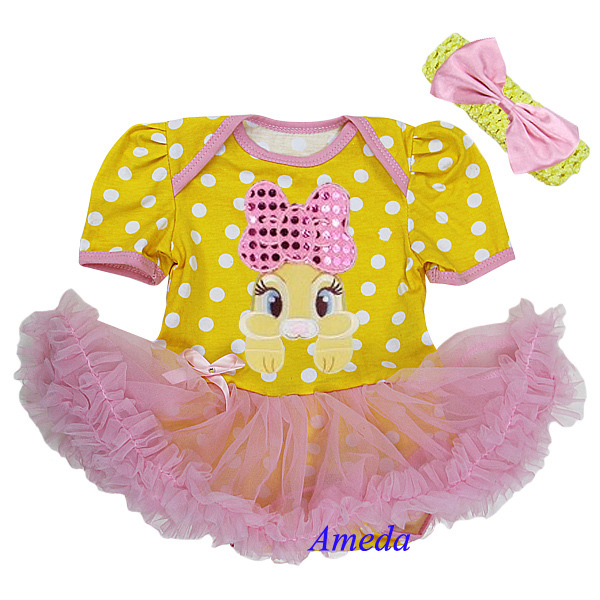 Easter Baby Yellow Pink Polka Dots Bling Bow Brown Bunny Bodysuit ...