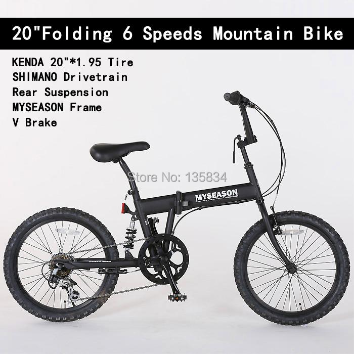 6 Speeds 20 Folding Bicicletas KENDA20*1.95 Tire Rear Suspension Fork MYSEASON Frame V Brake Bicicleta Folding Mountain Bike<br><br>Aliexpress