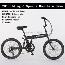 "6 Speeds 20"" Folding Bicicletas KENDA20""*1.95 Tire Rear Suspension Fork MYSEASON Frame V Brake Bicicleta Folding Mountain Bike(China (Mainland))"