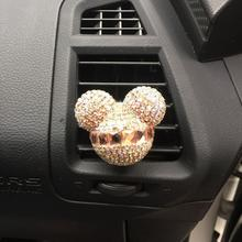 Luxury car ornaments girl Exquisite diamond Mickey Air conditioning outlet perfume Car air refreshing agent Car styling(China (Mainland))