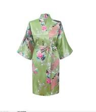 2015 Silk Kimono Robe Bathrobe Women Satin Robe Robe Longue Femme For Women Night Sexy Robes Night Grow For Bridesmaid Summer(China (Mainland))