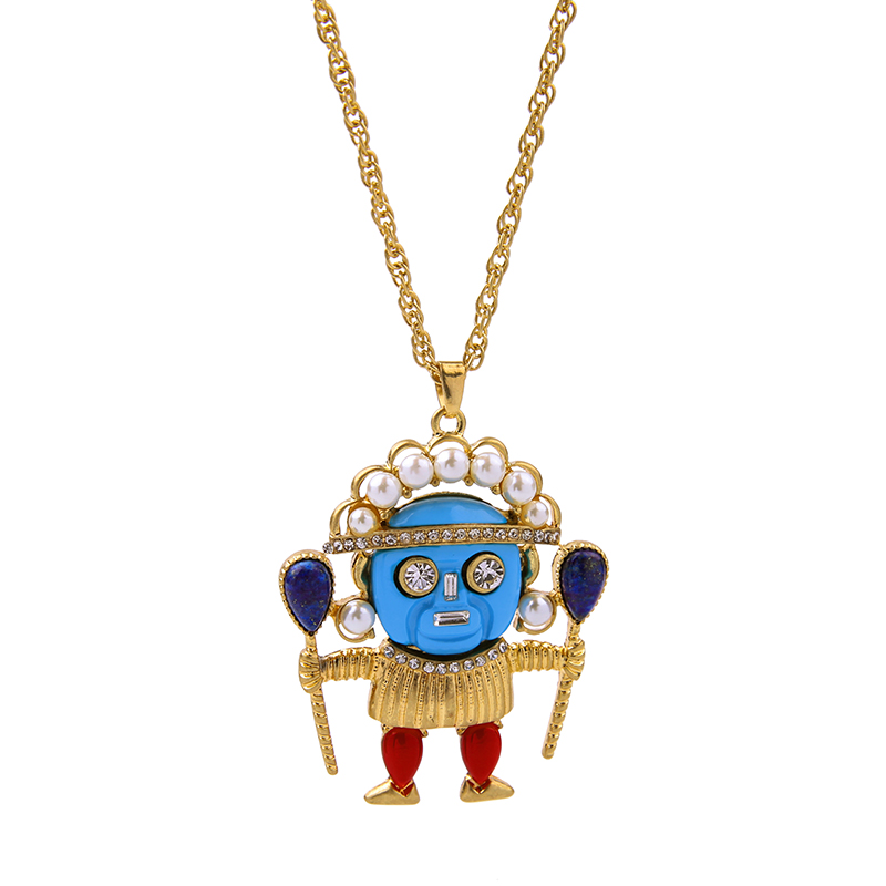 Distinctive General Character Lovely Pendant Necklace Colorful Blue Face King White Beads Crown Necklace(China (Mainland))