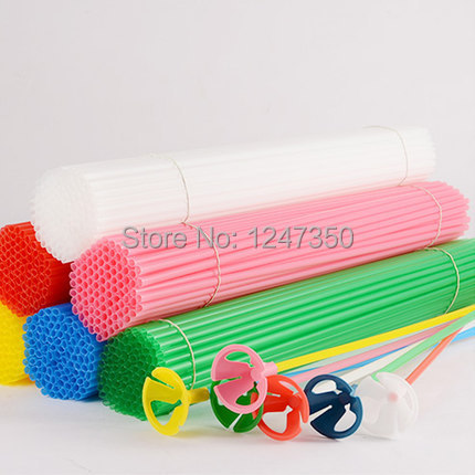 Latex Balloon Stick Rods 50pcs Plastic Balloon Accessories 40cm PVC Balloon Holder Sticks Multicolor Cup Wedding Decoration(China (Mainland))