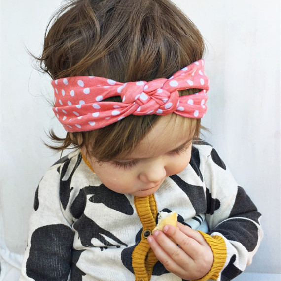 baby polka dot knot turban headband cotton baby twisted head wraps girl cute headband free shipping(China (Mainland))
