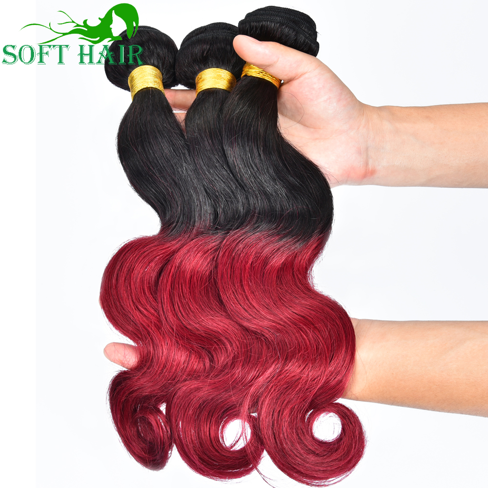 Soft hair Company 1B burgundy Ombre brazilian virgin Hair body wave Ombre human hair 4 bundles blonde color ombre hair extension(China (Mainland))