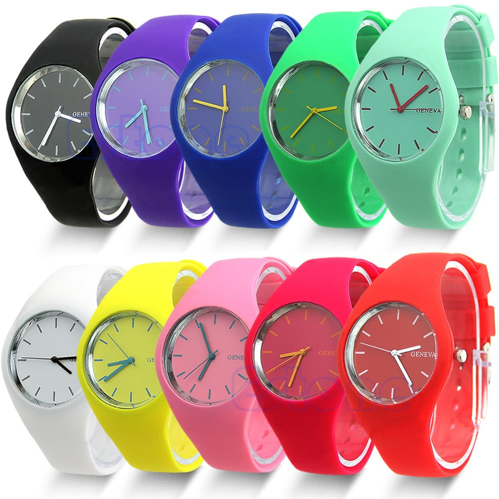 Free Shipping Fashion Super Soft Geneva Womens Jelly Silicone Sports Watch Students Watch 2014