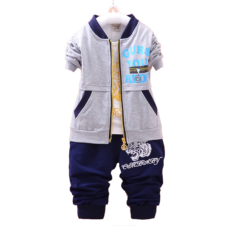 3PCS Tiger Print Kids Baby Boys Clothing Sets Autumn Kids Boys Clothes Sets jacket + T shirt + Trousers Children Boy Outfits(China (Mainland))