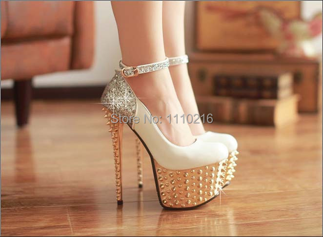 2016 new fashion rivets Sequins strappy ultra high heels platform wedding pumps sexy buckle party wedding women round toe shoes