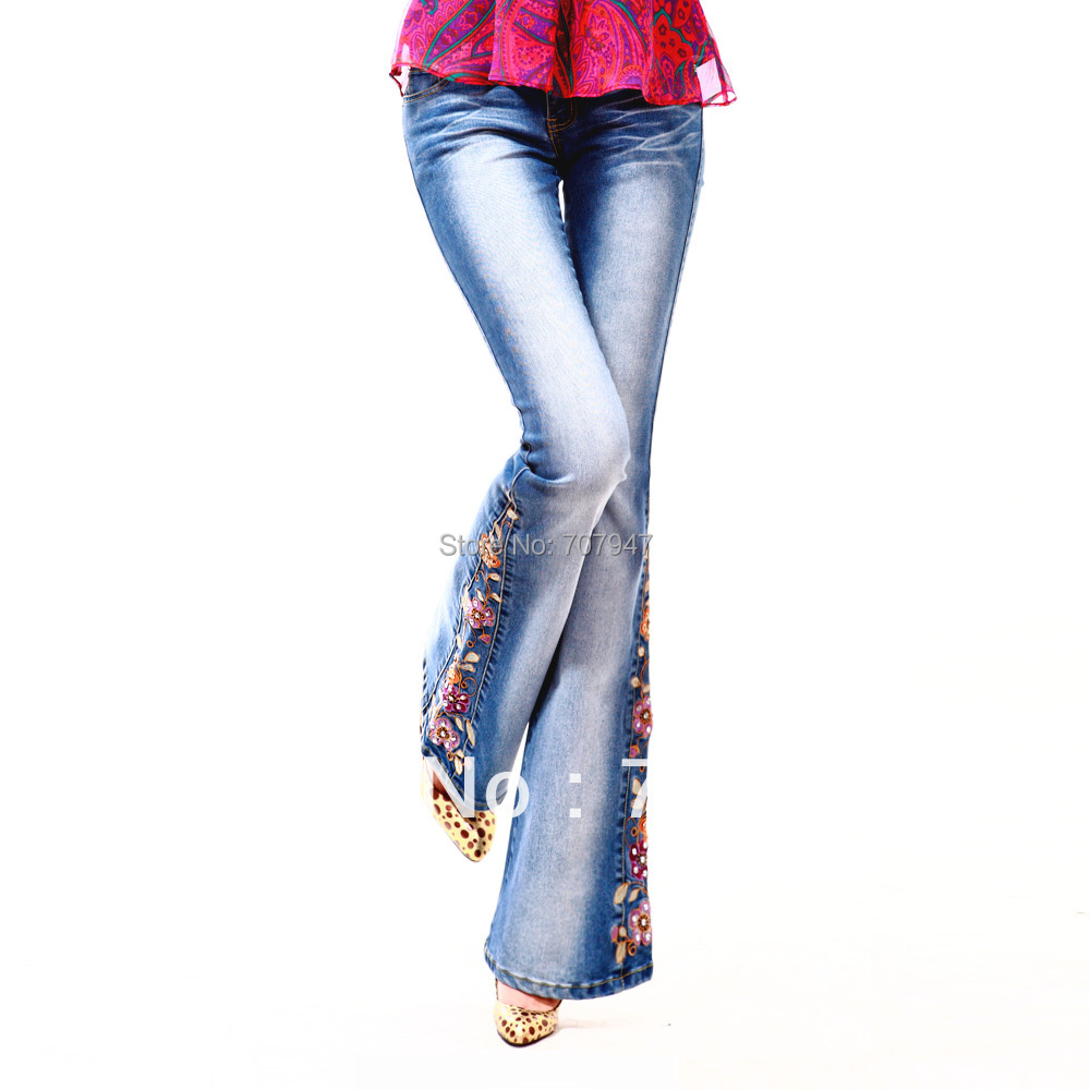 Free shipping joinus printing jeans woman trousers