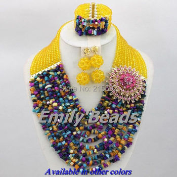 Free Shipping Nigerian Wedding African Beads Jewelry Set 10 Layers African Crystal Beads Jewelry Set Wholesale AES400