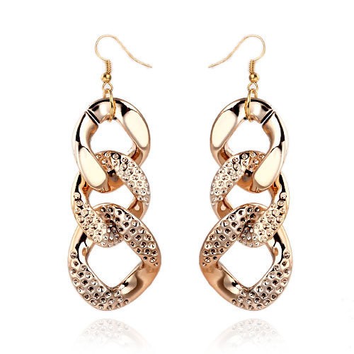 Free Shipping New Style Fashion Gold Acrylic Chain Shape Female Drop Earrings Exquisite Earrings For Party