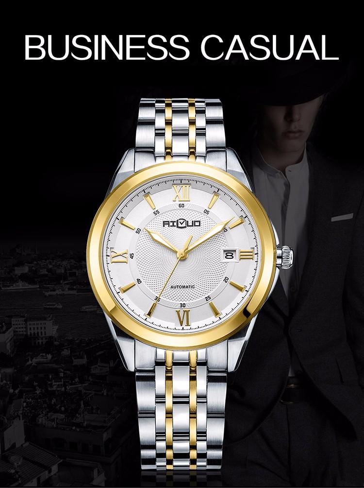 Марка Классическая Мода Золотые Часы Мужчины Маховик Автоматические Часы Полный Нержавеющей Стали Сапфир Часы Водонепроницаемый Наручные Часы Relogio