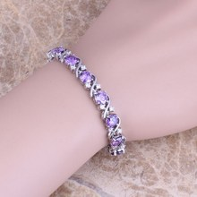 Purple Amethyst Topaz 925 Sterling Silver Overlay Link Chain Bracelet 7 inch For Women Free Shipping & Jewelry Bag S0266(China (Mainland))