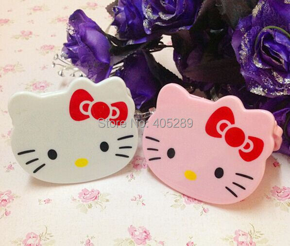 Hello Kitty Mirror with comb Kitty head Pocket Makeup Mirror Cartoon Cosmetic Mirror Free shipping by DHL/Fedex 100pcs/lot(China (Mainland))