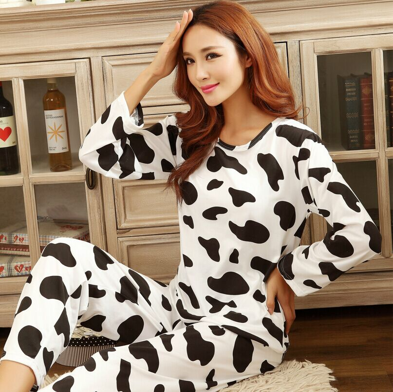 Hot Women's fashion sweet womens pajamas Animal printing Indoor Clothing Home Suit Sleepwear spring Long sleeve Trousers Pajamas(China (Mainland))