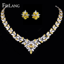 FEILANG Brand Women Luxury Temperament White Gold Plated Jewelry Sets For Wedding with Flower Shape Yellow CZ Diamond (FSSP143)(China (Mainland))