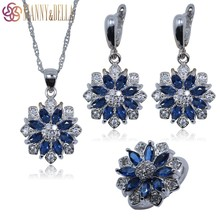 Occident 925 Sterling Silver Jewelry Set For Women Flower Blue Sapphire White Topaz Earrings/Pendant/Necklace Chain/Ring TZ113(China (Mainland))