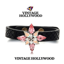 Free Shipping!2014 New Arrival High Qualiy Temperament Colorful Vintage Gem Bows The Heart of Ocean Leather Bracelet for Women(China (Mainland))