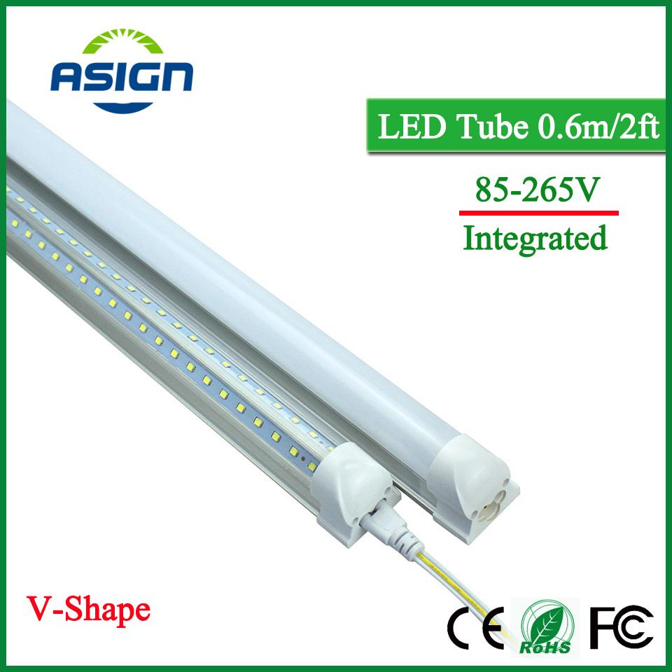 V-Shape LED Bulbs Tubes T8 600mm 20W 2 Feet Led Integrated Tube Light 2FT AC85-265V 96LEDs SMD2835 LED Light Super Bright 2000lm(China (Mainland))