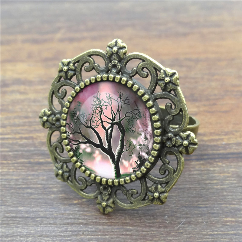 Wholesale Vintage Rings for Women Tree of Life Glass Cabochon Ancient Bronze Round Men Ring Fine Jewelry High Quality(China (Mainland))