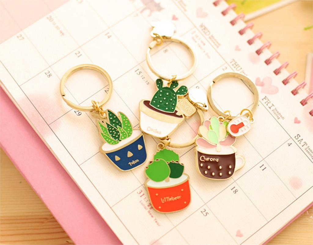 Novelty Cute Succulent plants Keychain Key Chain Key Ring Key Holder Women Gift Christmas Gift 2015 Hot(China (Mainland))